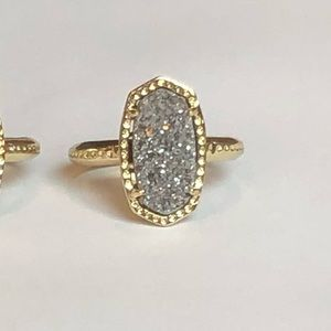 Jewelry - Platinum Silver Drusy & 18k Gold Ring Size 6